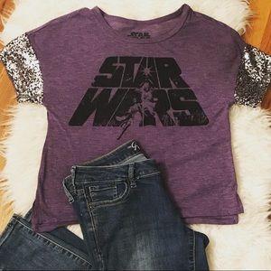 Star Wars purple tee with sequins on sleeves